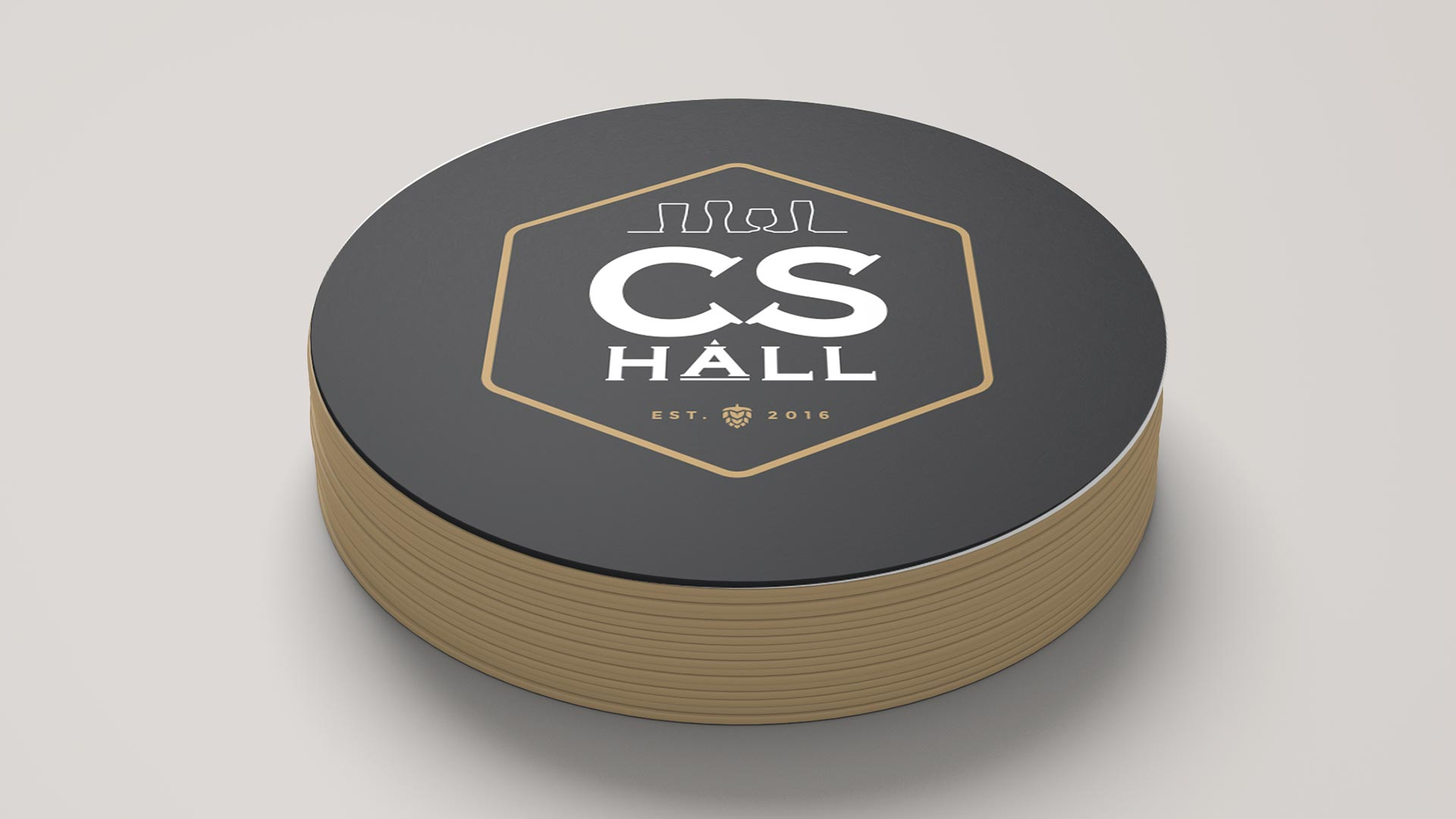 Cathedral Social Hall, Design, Cathedral Social Hall Coasters, Portfolio Image, Cathedral Social Hall Coaster - Brand Badge