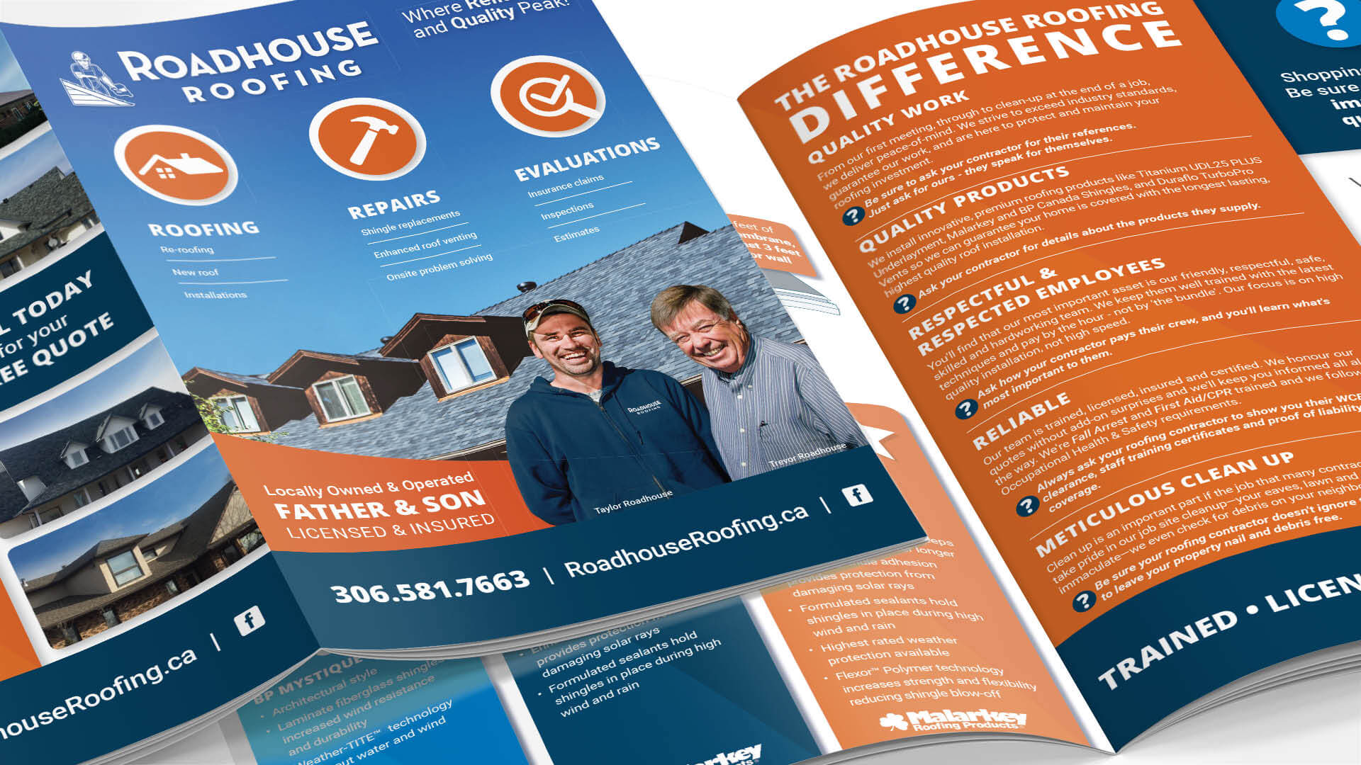 Roadhouse Roofing, Print, Roadhouse Roofing Brochure, Portfolio Image
