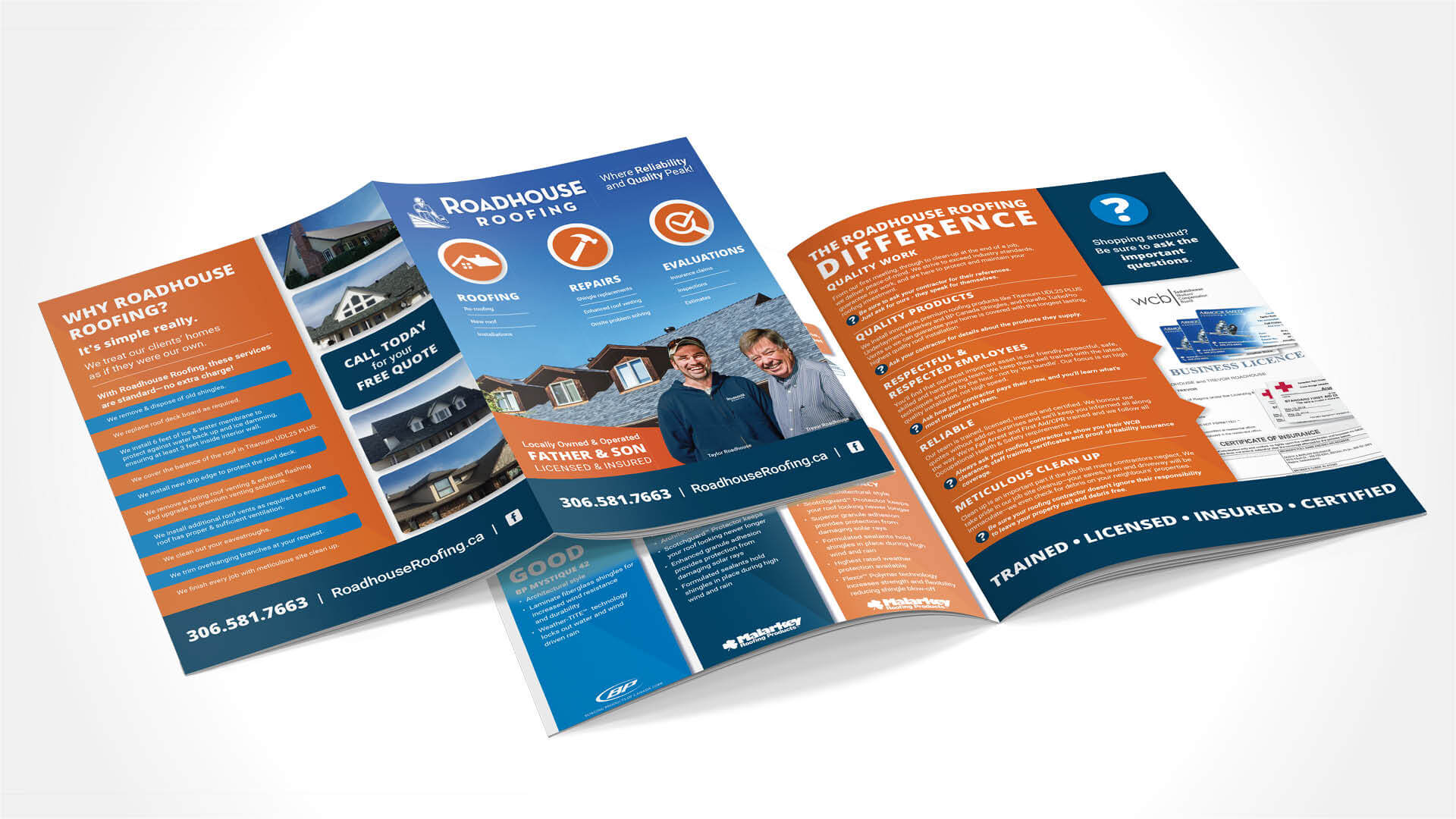 Roadhouse Roofing, Print, Roadhouse Roofing Brochure, Portfolio Image,