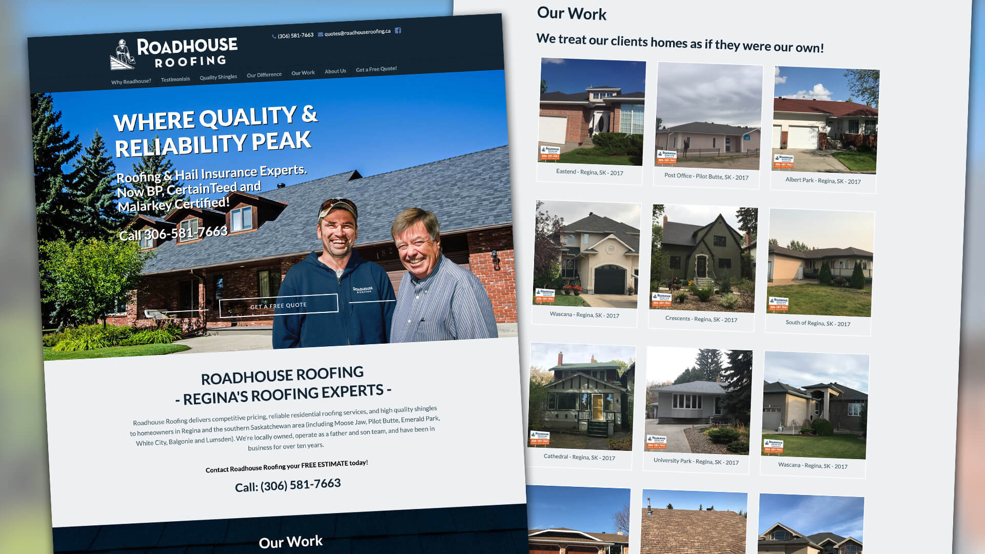 Roadhouse Roofing, Website, Roadhouse Roofing Website, Portfolio Image
