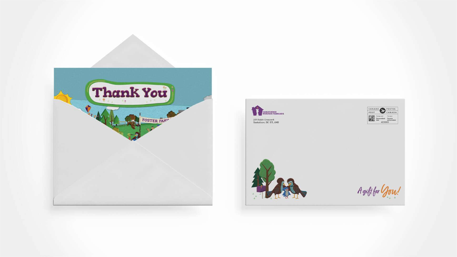 Saskatchewan Foster Families Association, Design, Foster Families Month Thank You Card, Portfolio Image, Packaging includes a creative envelope approach.